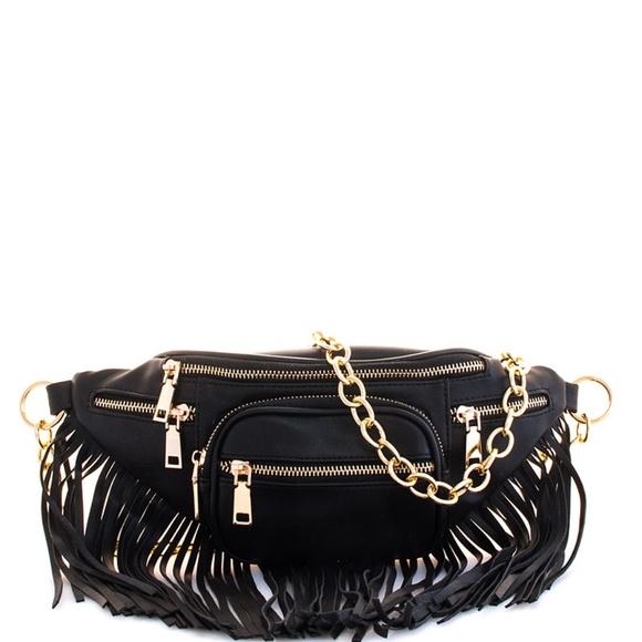 Handbags - BLACK DESIGNER CHIC FRINGE FANNY PACK W/GOLD CHAIN